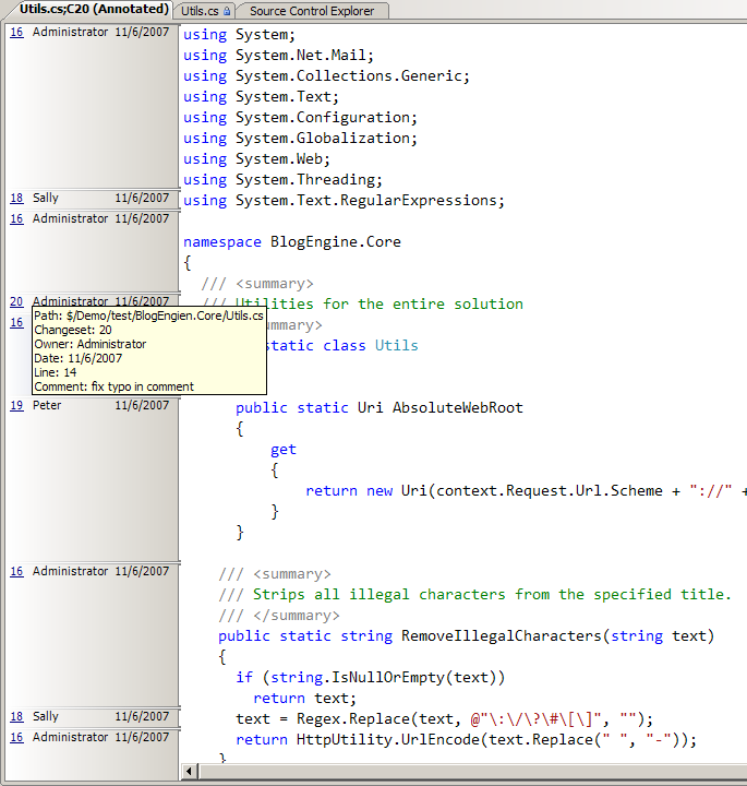 Visual Studio IDE with source control annotations (blame)