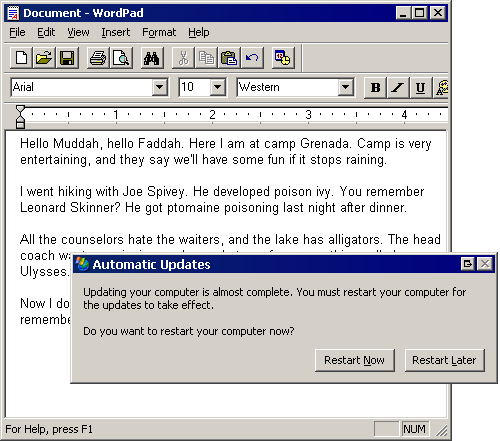 Example of a dialog stealing focus from an application