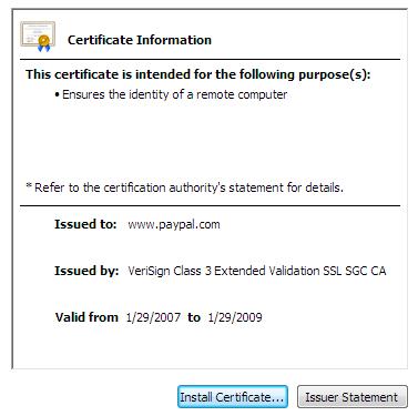 Certificate dialog: General