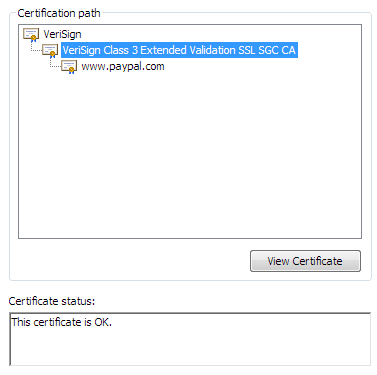 Certificate dialog: Path