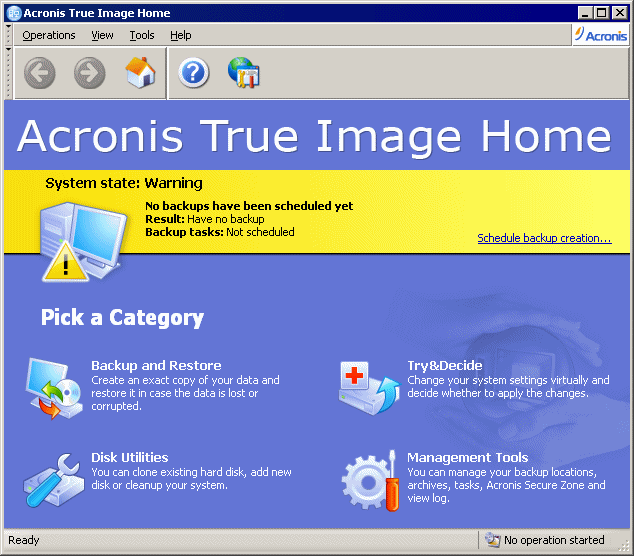 Acronis True Image 11 Home screen