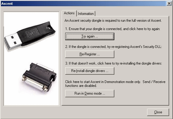 dongle management dialog