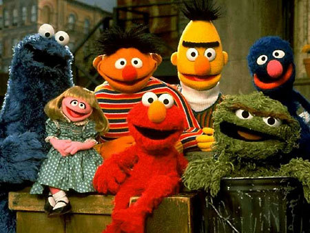 Sesame Street characters in a group photo