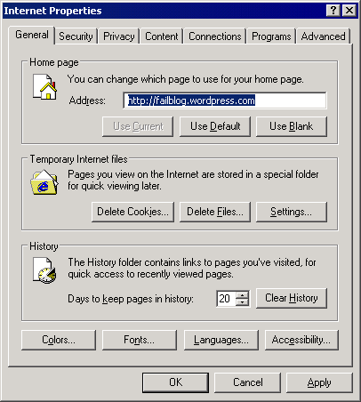 internet properties dialog