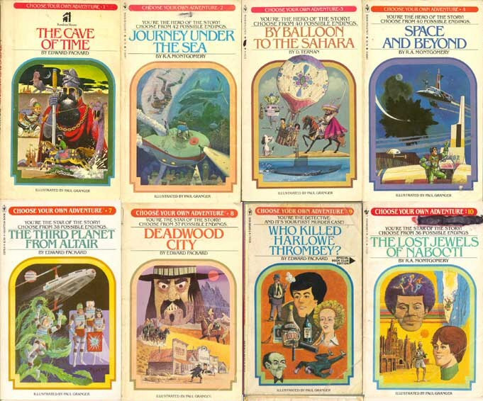 8 Choose Your Own Adventure book covers