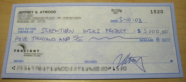 $5,000 check to ScrewTurn Wiki