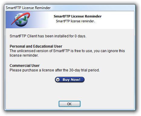 SmartFTP license reminder