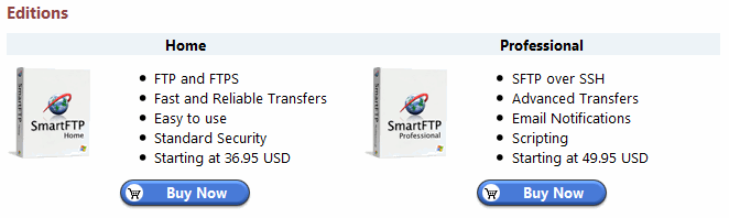 SmartFTP product editions