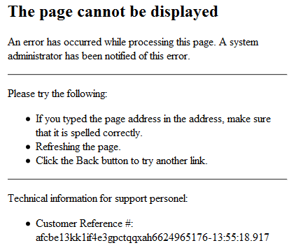 web error reporting page