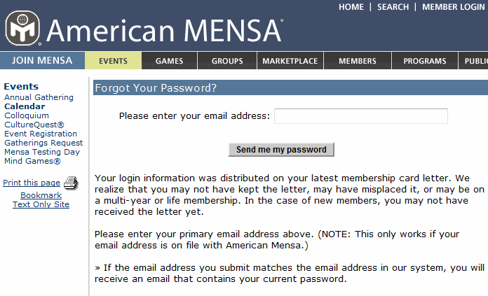 Mensa forgot password form