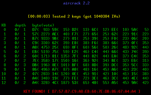 Aircrack screenshot