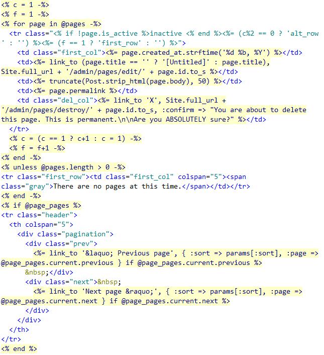 Ruby RHTML markup and code