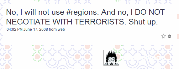 Twitter message from codinghorror about #regions