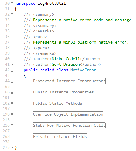 C# region example, log4net.Util.NativeError