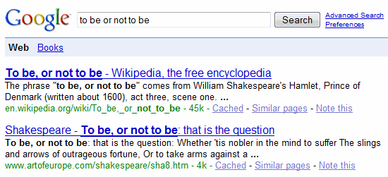 google search: to be or not to be