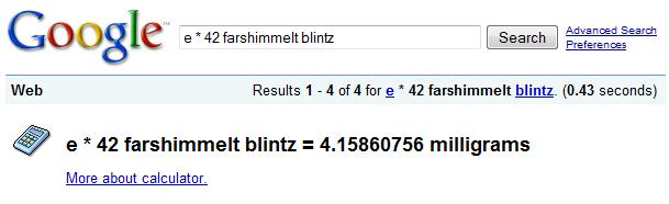 Google Calculator - Potrzebie System results