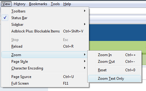 Firefox 3 View, Zoom menu