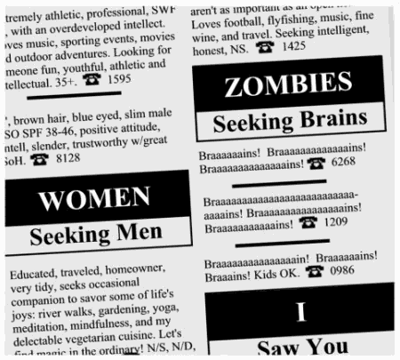 want ad: Zombies Seeking Brains