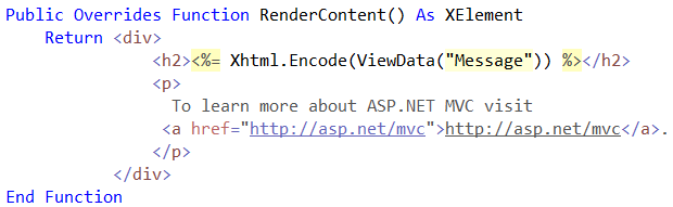 Visual Basic XML Literals used in an ASP.NET MVC view
