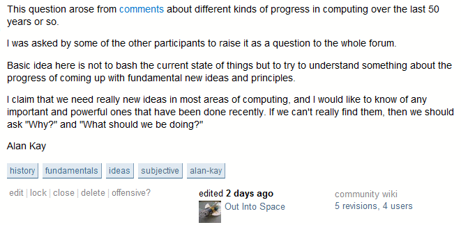 Stack Overflow post from Alan Kay
