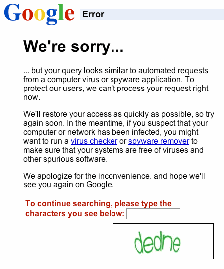 google error: we're sorry, search rate limiter with captcha