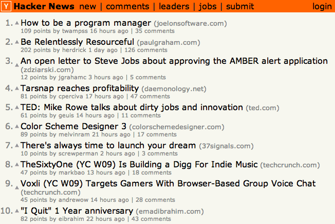 hacker news frontpage