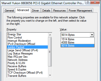 gigabit jumbo marvell yukon advanced settings
