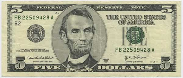 five dollar bill, front