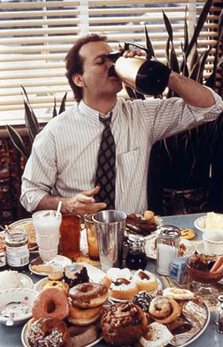 Bill Nurray Drinking Coffee