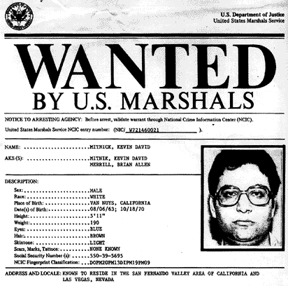 Kevin Mitnick FBI wanted poster